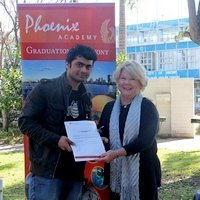 Rabin Sapkota, winner of the Les Scannell Scolarship, and Robynne Walsh, Principal of Phoenix Academy